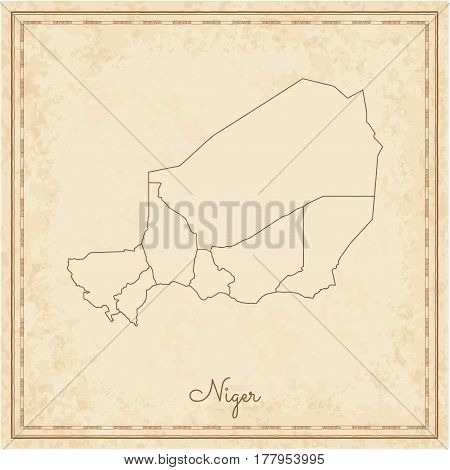 Niger Region Map: Stilyzed Old Pirate Parchment Imitation. Detailed Map Of Niger Regions. Vector Ill