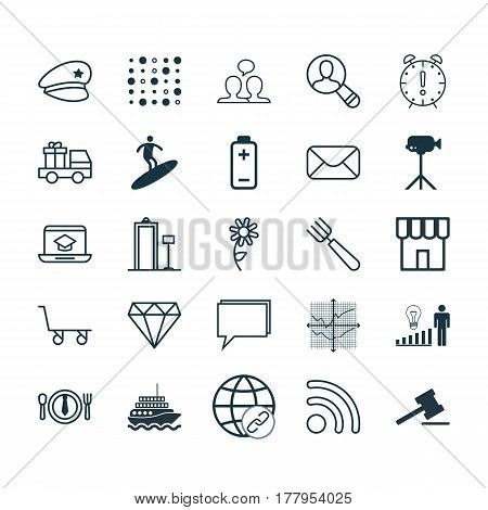 Set Of 25 Universal Editable Icons. Can Be Used For Web, Mobile And App Design. Includes Elements Such As Broken Lines Chart, Battery, Yacht And More.