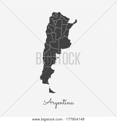 Argentina Region Map: Grey Outline On White Background. Detailed Map Of Argentina Regions. Vector Il