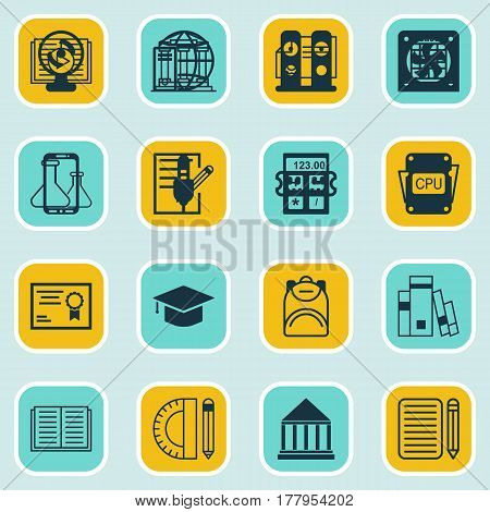 Set Of 16 Education Icons. Includes Academy, Certificate, Diploma And Other Symbols. Beautiful Design Elements.