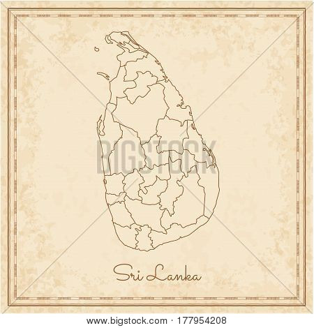 Sri Lanka Region Map: Stilyzed Old Pirate Parchment Imitation. Detailed Map Of Sri Lanka Regions. Ve