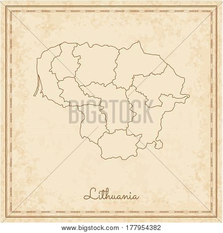 Lithuania Region Map: Stilyzed Old Pirate Parchment Imitation. Detailed Map Of Lithuania Regions. Ve