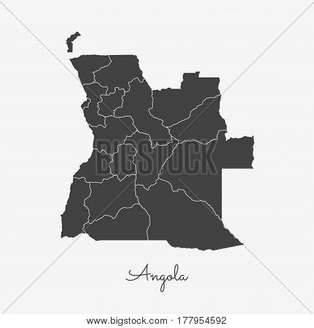 Angola Region Map: Grey Outline On White Background. Detailed Map Of Angola Regions. Vector Illustra