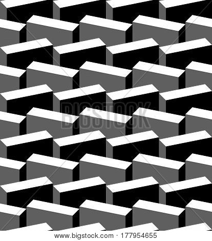 Tiling Geometry texture background with cubes. Decorative fabric monochrome City
