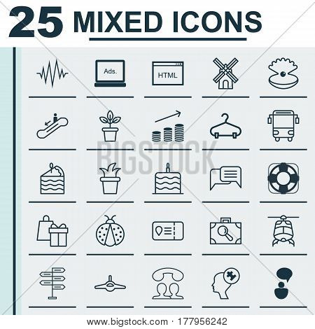 Set Of 25 Universal Editable Icons. Can Be Used For Web, Mobile And App Design. Includes Elements Such As Mill, Sea Rescue, Baggage Research And More.