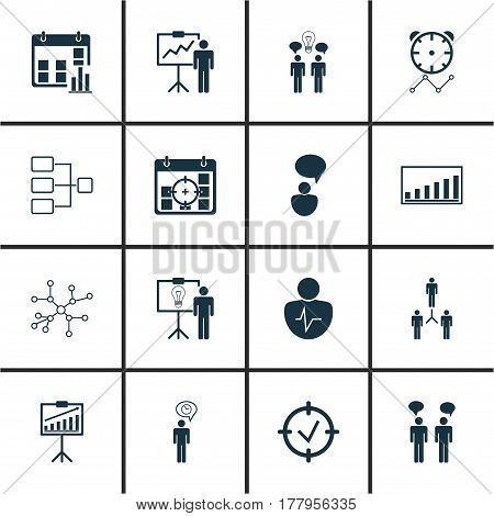 Set Of 16 Authority Icons. Includes Group Organization, Planning, Conversation And Other Symbols. Beautiful Design Elements.