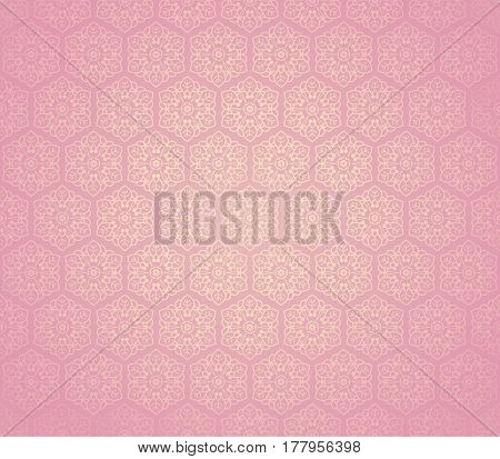 Pink seamless flower ornament from floral design elements. Honey comb tiles background. Intricate hexagon wallpaper, gift paper, fabric print, fashion textile, furniture.