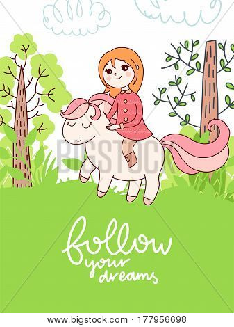 Doodles cute card, spring theme. Color vector poster with lettering. Illustration with girl and pony, trees and clouds. Design for prints.