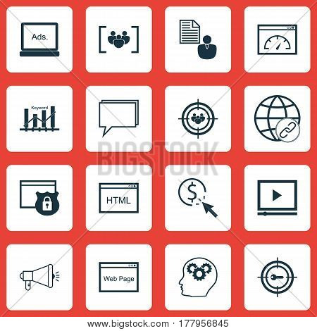 Set Of 16 Advertising Icons. Includes Security, Coding, Connectivity And Other Symbols. Beautiful Design Elements.