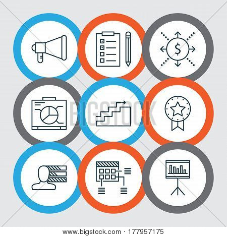 Set Of 9 Project Management Icons. Includes Money, Announcement, Present Badge And Other Symbols. Beautiful Design Elements.