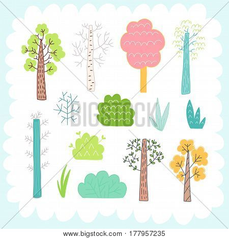 Doodles cute elements, spring theme. Color vector items collection. Illustration with trees and bush. Design for prints and cards.