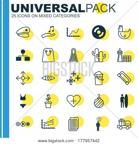 Set Of 25 Universal Editable Icons. Can Be Used For Web, Mobile And App Design. Includes Elements Such As Internet Site, Song UI, Hen And More.