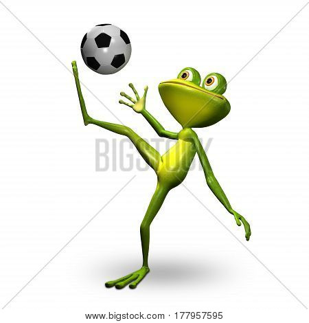 3d Illustration Green Frog with Soccer Ball