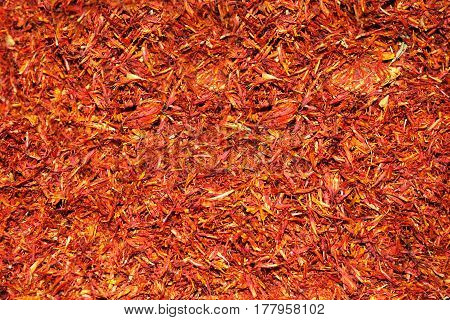 Exotic spice saffron for coloring food (close up)