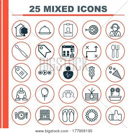 Set Of 25 Universal Editable Icons. Can Be Used For Web, Mobile And App Design. Includes Elements Such As Airfield Manufacture, Balloon, Arrow And More.