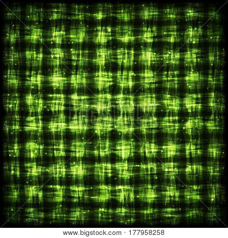 Glowing Checkered Pattern with Light Effect. Green Bright Abstract Background for Site Web App Program.