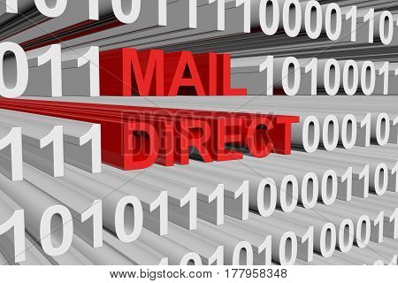 MAIL DIRECT presented in the form of binary code 3d illustration