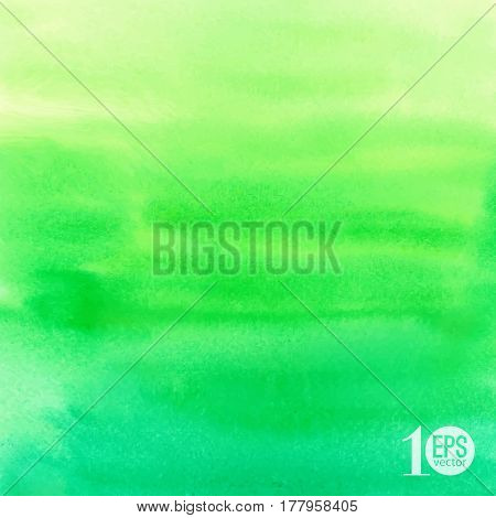 Vector green abstract hand drawn watercolor background for your design. Aquarelle backdrop