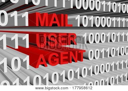mail user agent is presented in the form of binary code 3d illustration