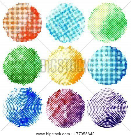 Set of abstract halftone colorful circles. Design elements. Vector illustration