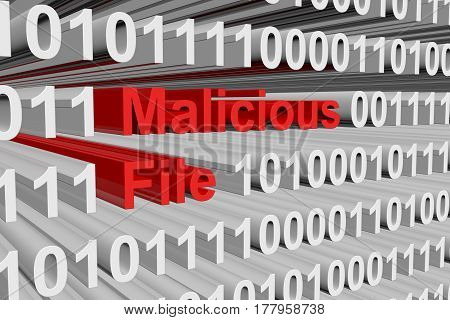 Malicious file is presented in the form of binary code 3d illustration