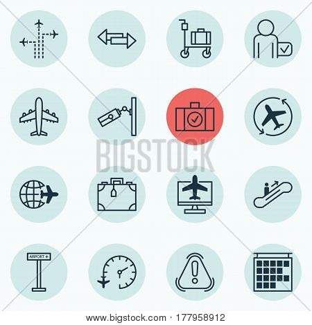 Set Of 16 Travel Icons. Includes Worldwide Flight, Moving Staircase, Crossroad And Other Symbols. Beautiful Design Elements.