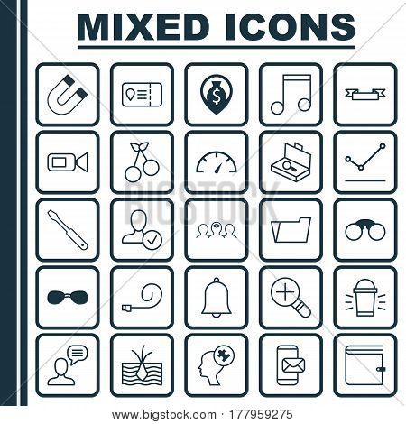 Set Of 25 Universal Editable Icons. Can Be Used For Web, Mobile And App Design. Includes Elements Such As Pointed Line Graph, Growing Plant, Coaching And More.