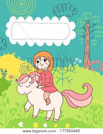 Doodles cute card, spring theme. Color vector poster with text bubble. Illustration with girl and pony, trees and flowers. Design for prints.
