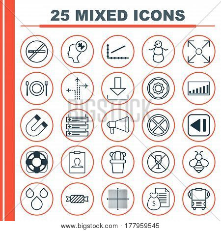 Set Of 25 Universal Editable Icons. Can Be Used For Web, Mobile And App Design. Includes Elements Such As Winter, Water Drops, Login And More.