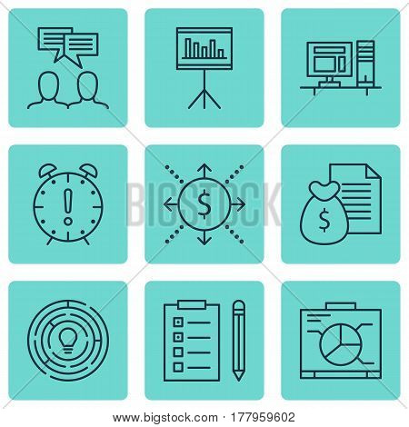 Set Of 9 Project Management Icons. Includes Board, Report, Time Management And Other Symbols. Beautiful Design Elements.