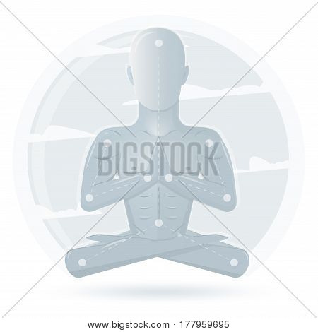 Yoga meditation man isolated on white background. Cartoon meditation character, vector yoga flat design. Meditation pose illustration.