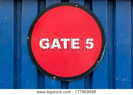 Bright Red Gate No 5 Sign