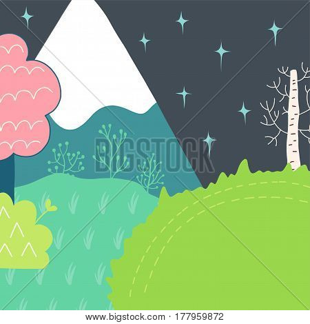 Doodles cute backdrop spring theme. Color vector poster. Illustration with mountains, trees and flowers, grass and stars. Design for prints.