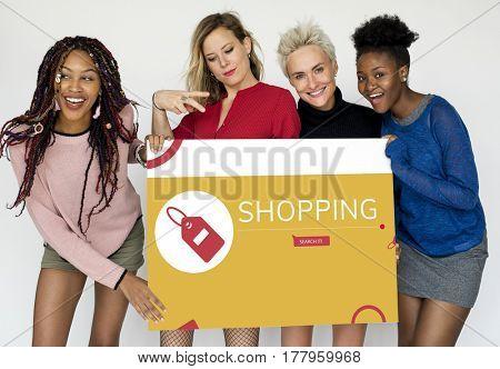 Women holding network graphic overlay banner