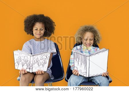 Little Children Reading Book Smile