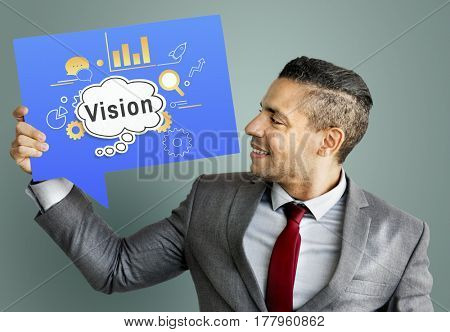 Business Looking Man Holding Placard