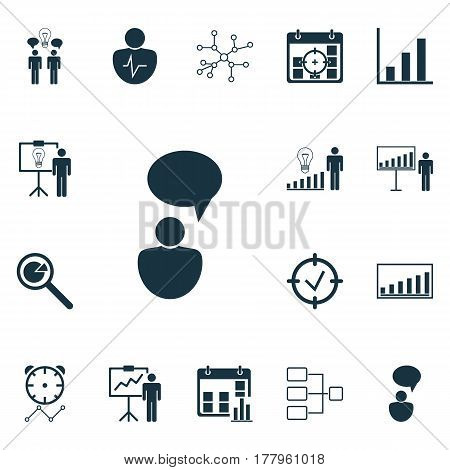 Set Of 16 Executive Icons. Includes Company Statistics, Solution Demonstration, Opinion Analysis And Other Symbols. Beautiful Design Elements.