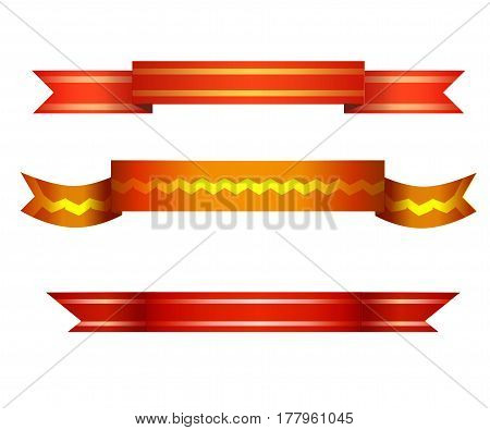Realistic red glossy decorative ribbons with a stripe.Vector set of the Parchment and papyrus scrolls. Collection of banners for Invitations, Badges, Logotypes.