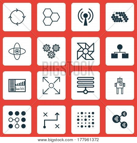 Set Of 16 Robotics Icons. Includes Controlling Board, Computing Problems, Solution And Other Symbols. Beautiful Design Elements.