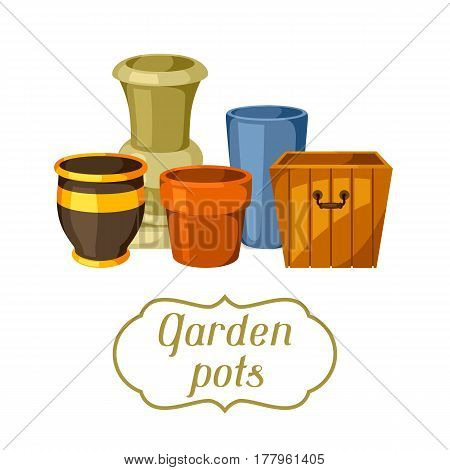 Garden pots. Background with various color flowerpots.