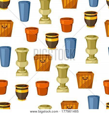 Garden pots. Seamless pattern with various color flowerpots.