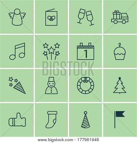 Set Of 16 Happy New Year Icons. Includes Champagne Glasses, Decorated Tree, Snow Person And Other Symbols. Beautiful Design Elements.