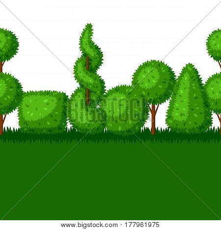 Boxwood topiary garden plants. Seamless border with decorative trees.