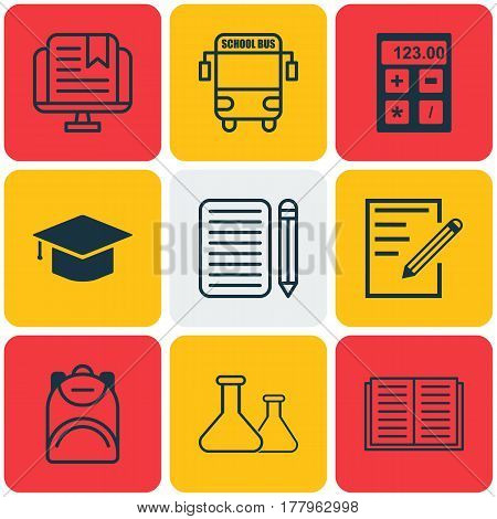 Set Of 9 Education Icons. Includes Paper, Graduation, Chemical And Other Symbols. Beautiful Design Elements.