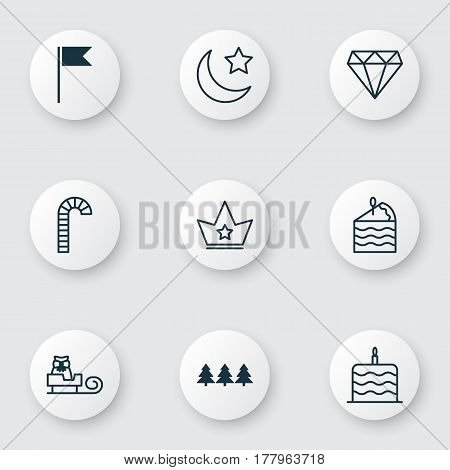 Set Of 9 Holiday Icons. Includes Flag Point, Holiday Ornament, Celebration Cake And Other Symbols. Beautiful Design Elements.