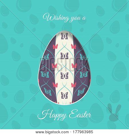Vector poster of Easter egg with butterflies pattern rabbit silhouette shadow and text on the turquoise background with pattern.