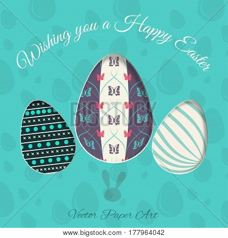 Vector poster of Easter eggs with different patterns rabbit stamp shadow and text on the turquoise background with pattern.