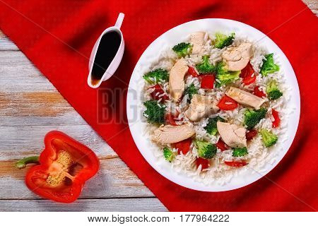 Stir Fry Vegetables, Rice And Chicken Meat