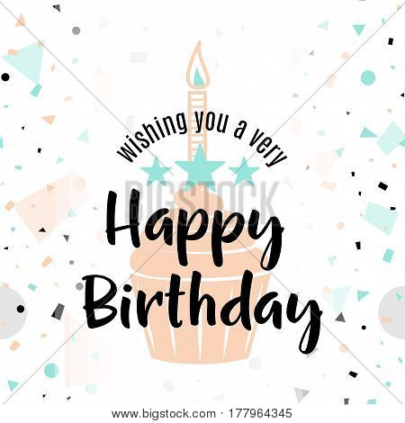 Vector illustration of Happy Birthday greeting card with typography lettering text sign, candle, cupcake, stars on fun geometric hipster background in memphis style