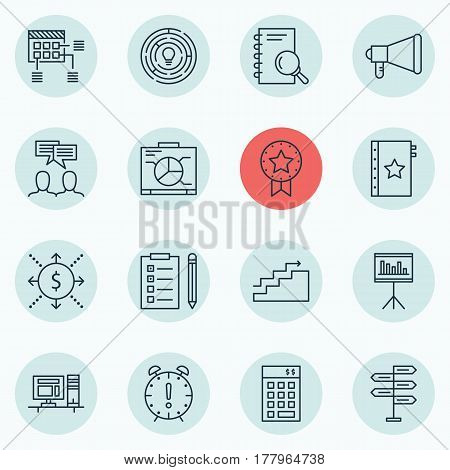 Set Of 16 Project Management Icons. Includes Schedule, Board, Reminder And Other Symbols. Beautiful Design Elements.